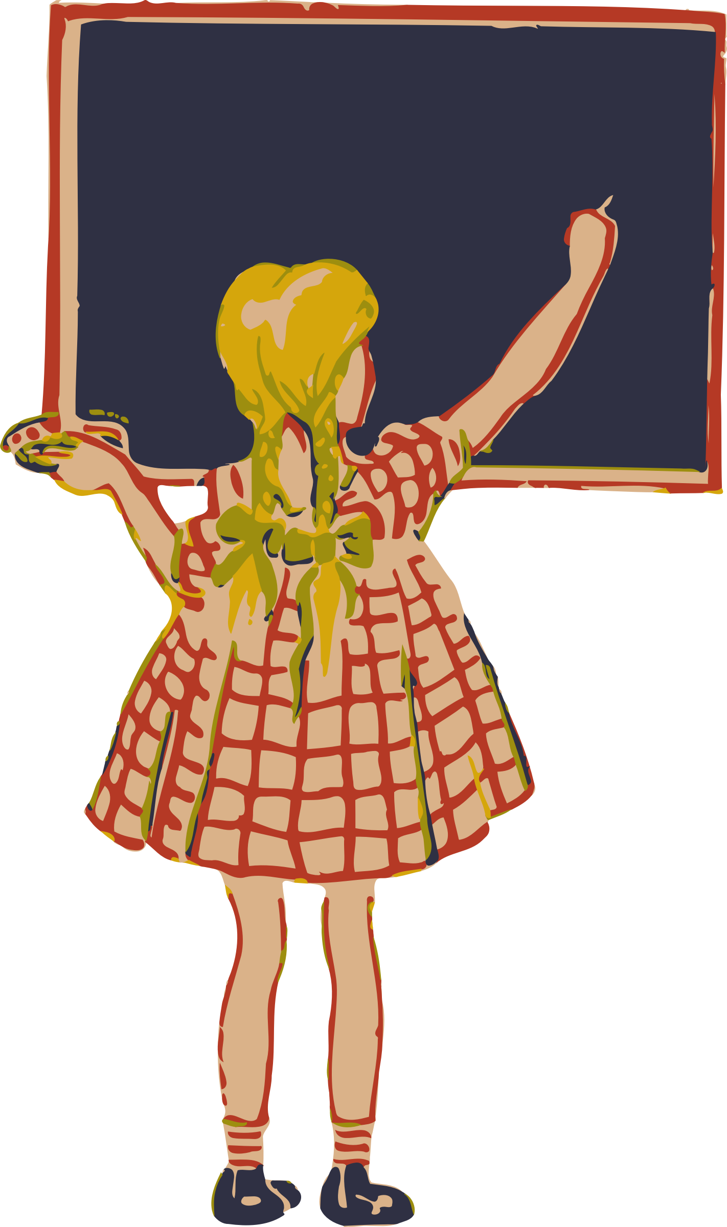 Girl and blackboard big. Costume clipart theater costume