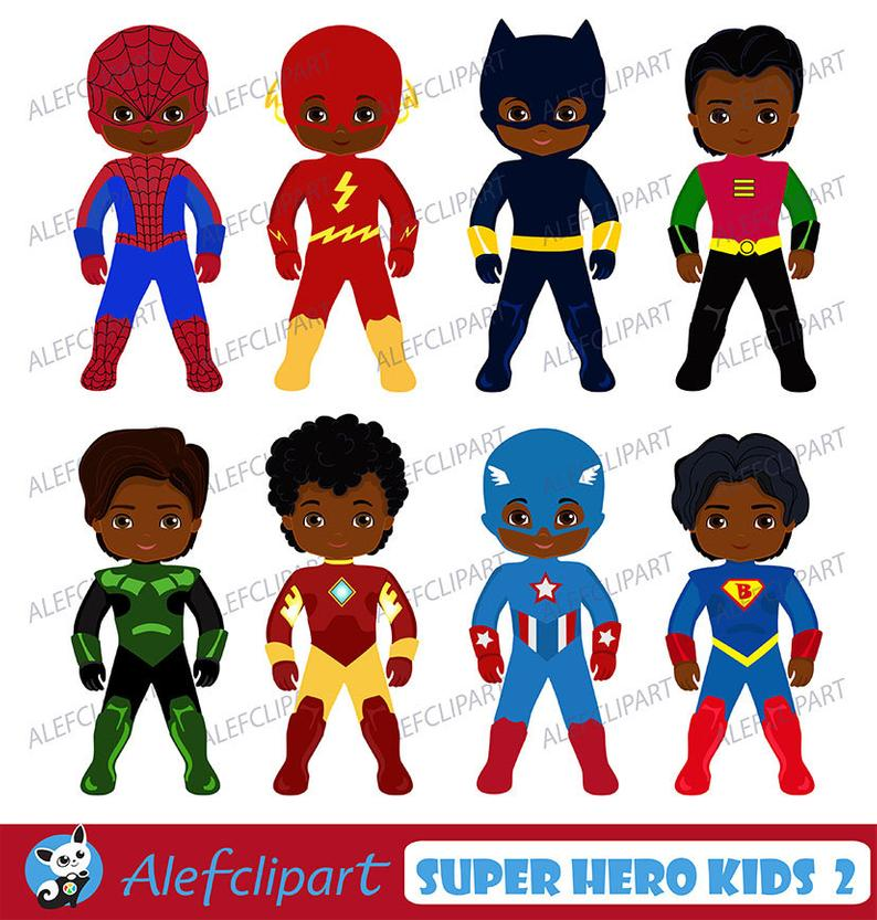 African american superhero kids. Costume clipart toddler