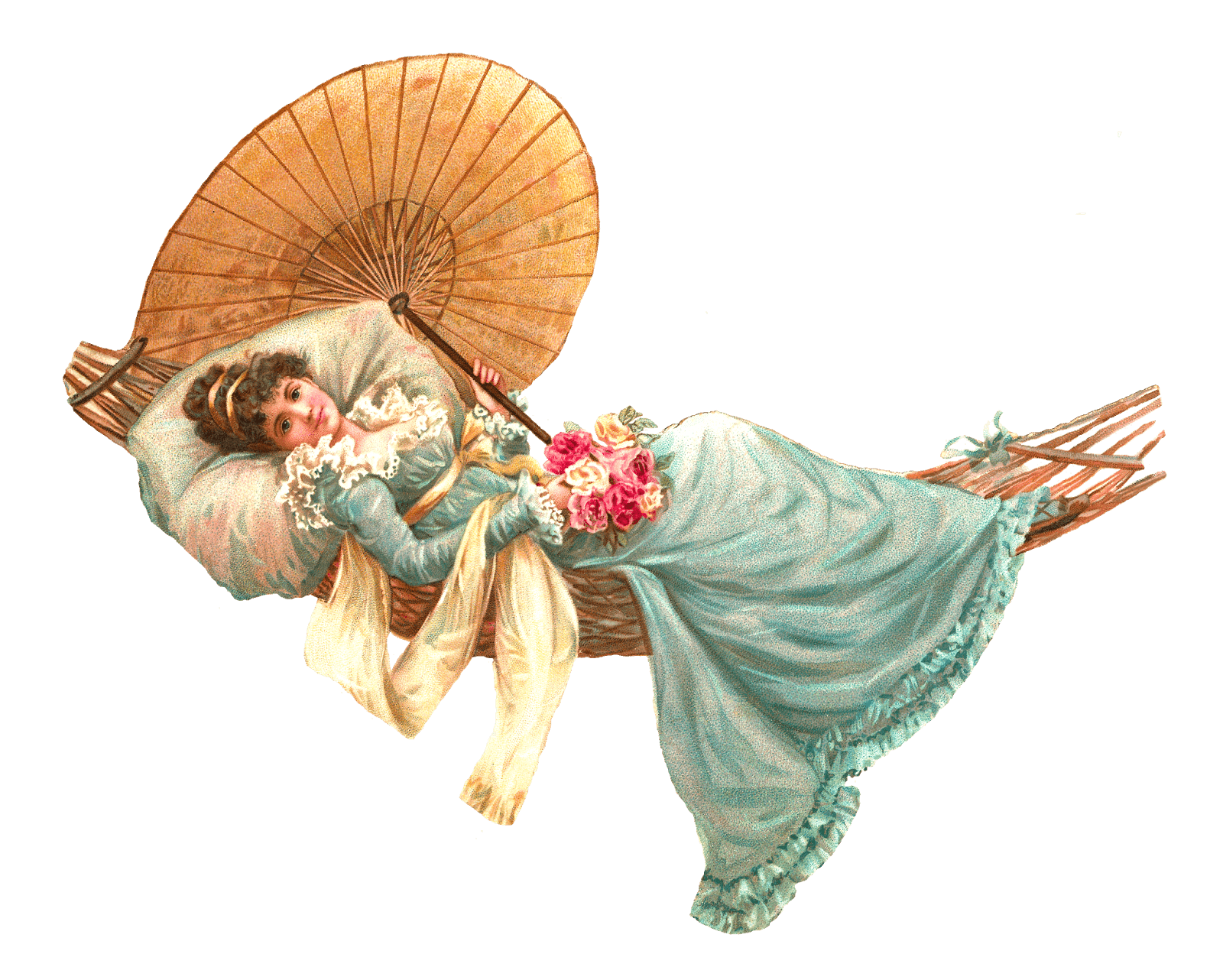 Lady clipart vintage. Hammock victorian transparent png
