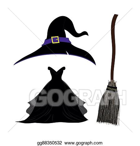 Vector art hat with. Witch clipart witch costume