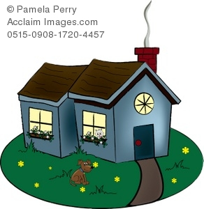 Clip art illustration of. Cottage clipart
