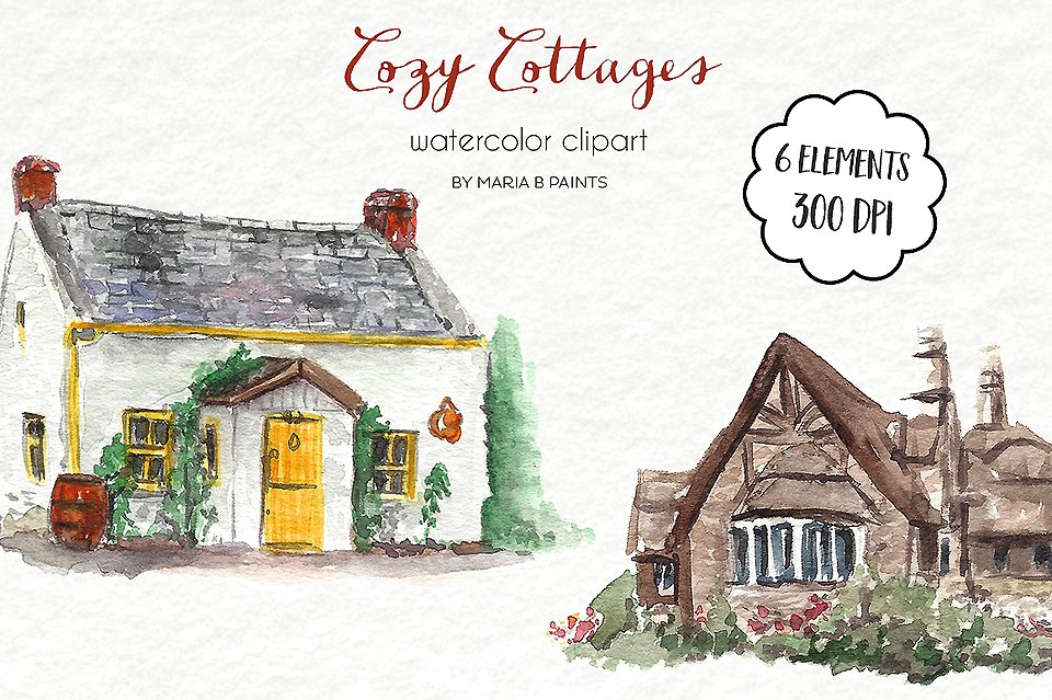 Watercolor clip art cottages. Cottage clipart