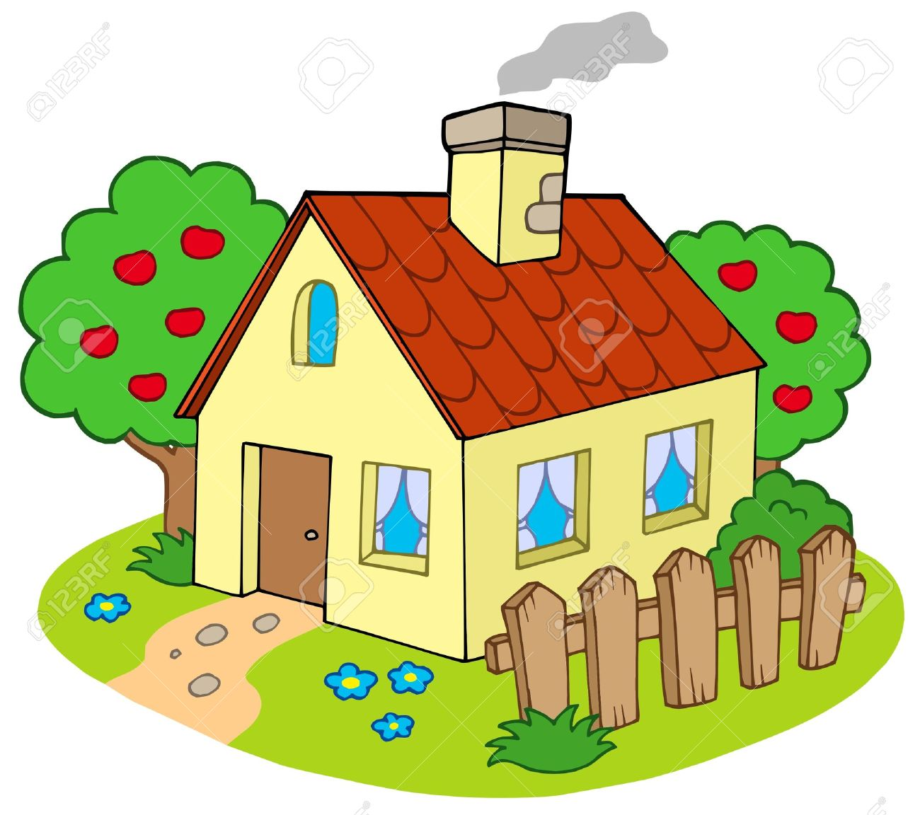 Walking home pencil and. Cottage clipart