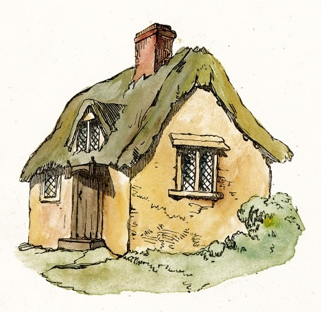Cottage clipart. Thatched roof clip art