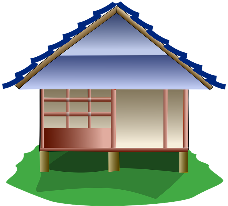 Cottage japanese house free. Home clipart bunglow