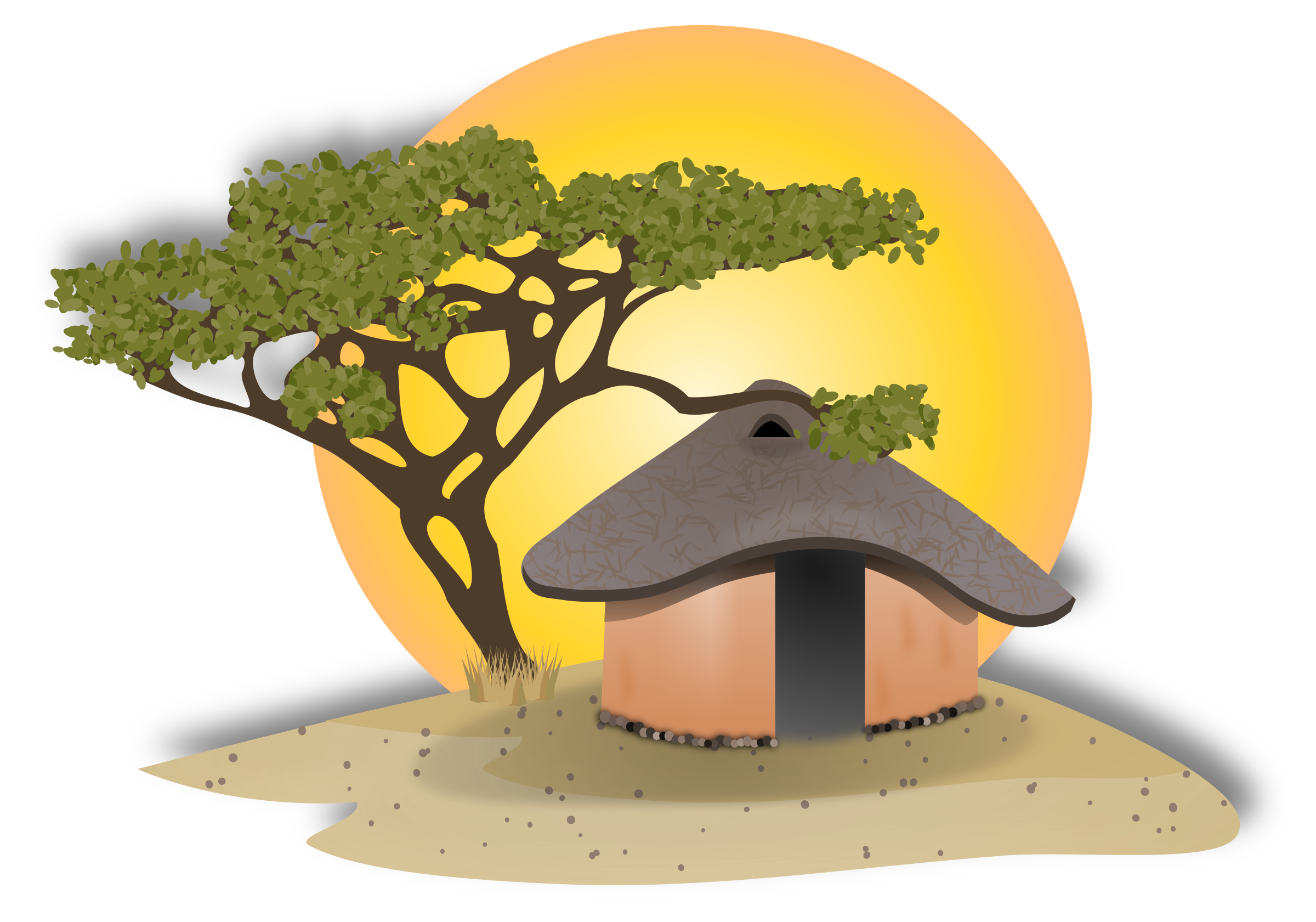 African hut drawing at. Desert clipart village mexican