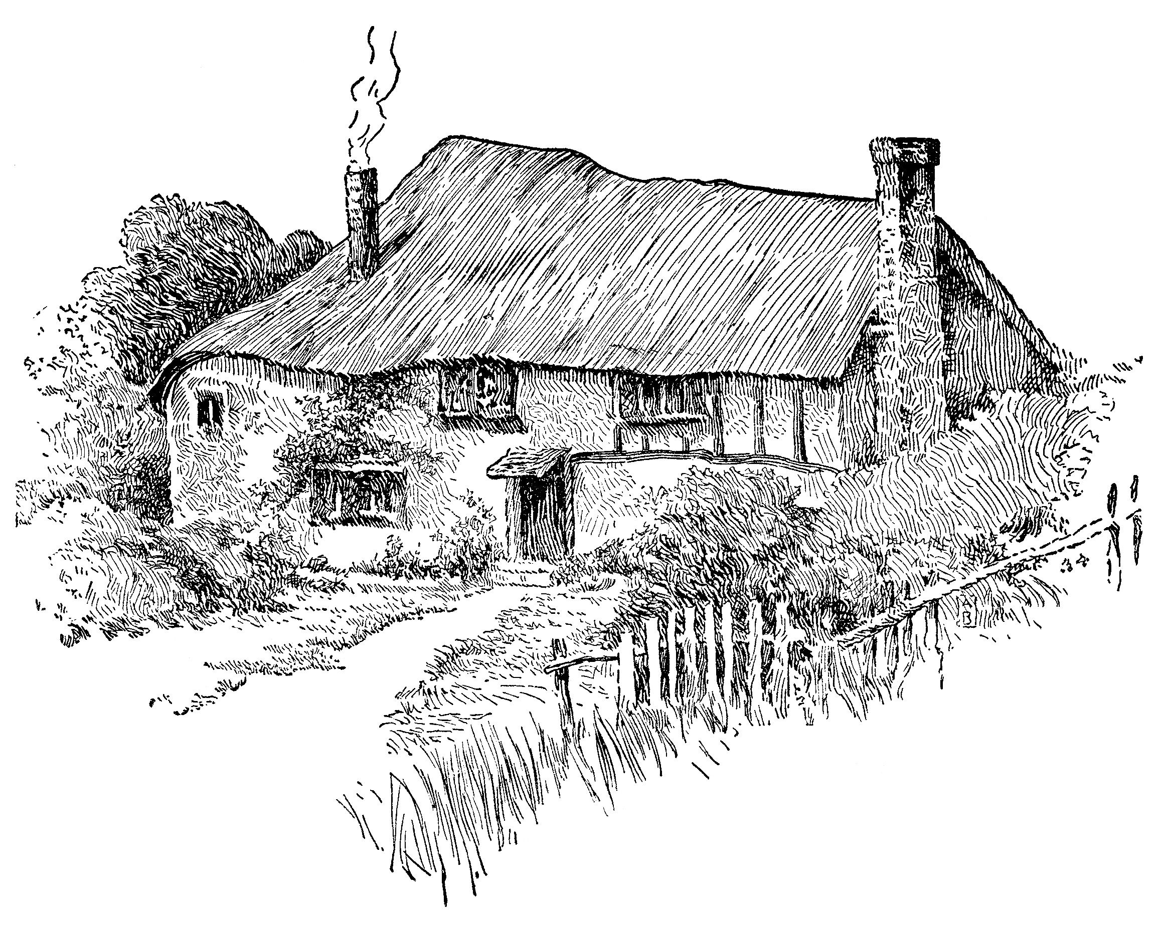 Pin by mabel neil. Cottage clipart black and white