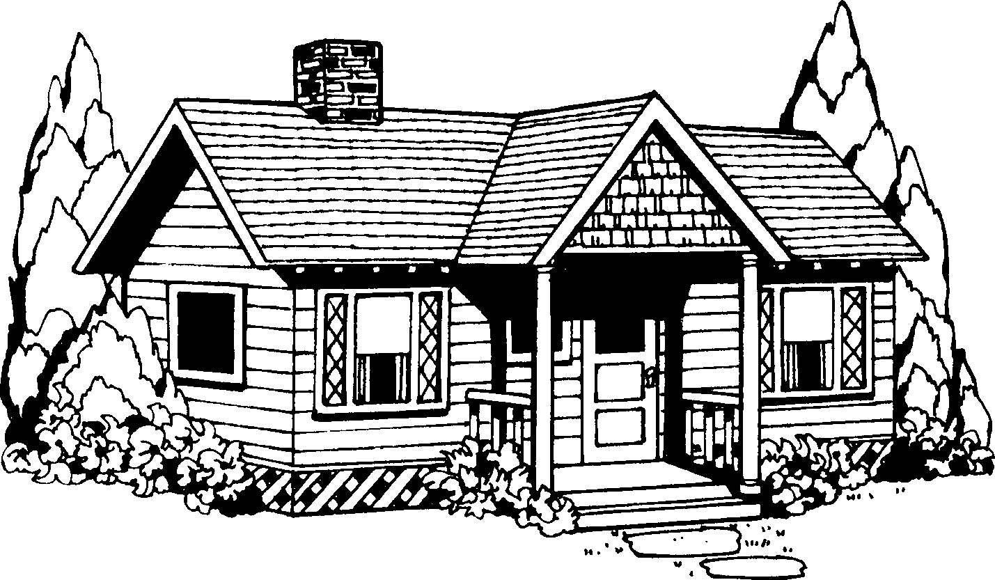 house clipartlook. Cottage clipart black and white