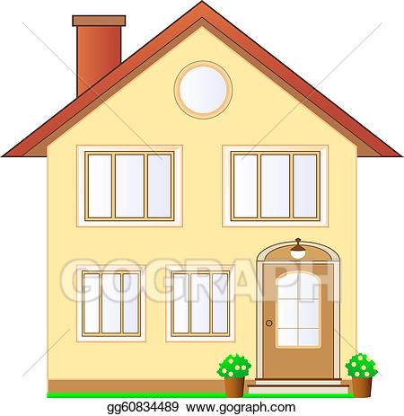 Drawing isolated house gg. Cottage clipart cottage door