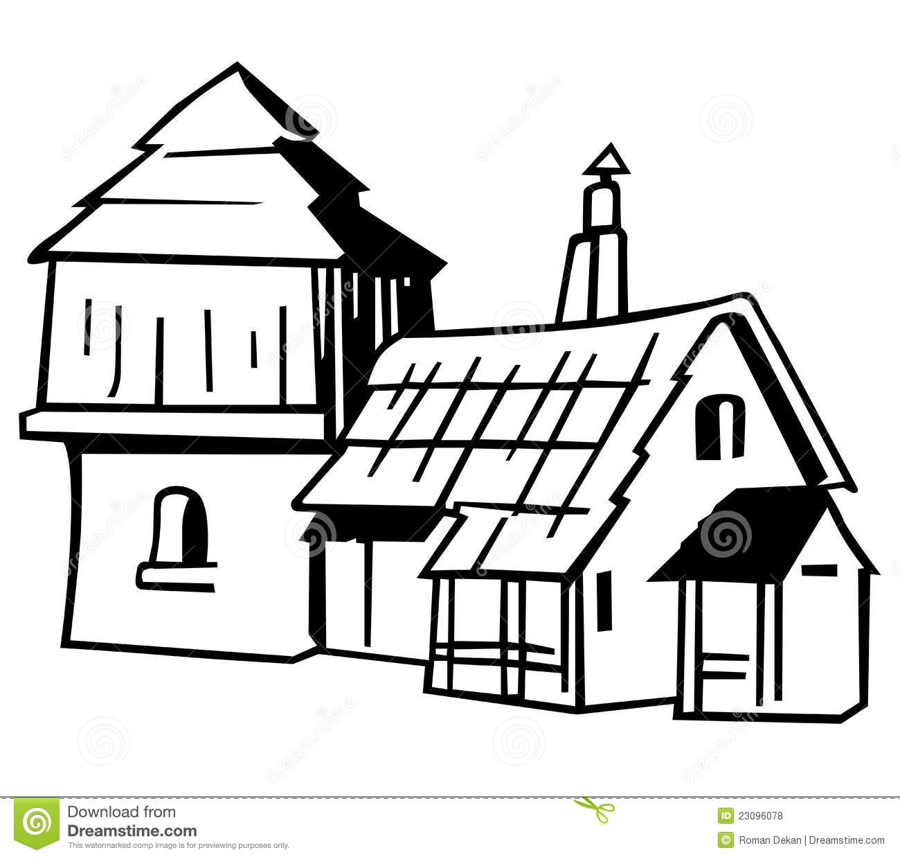 Black and white free. Cottage clipart cottage village