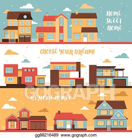Cottage clipart cottage village. Vector and houses horizontal