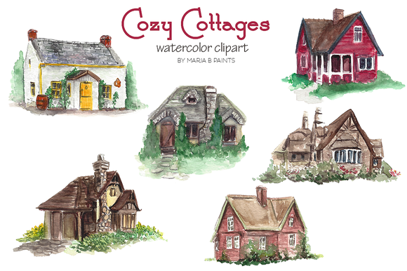 Cottage clipart cottage village. Watercolor clip art cottages