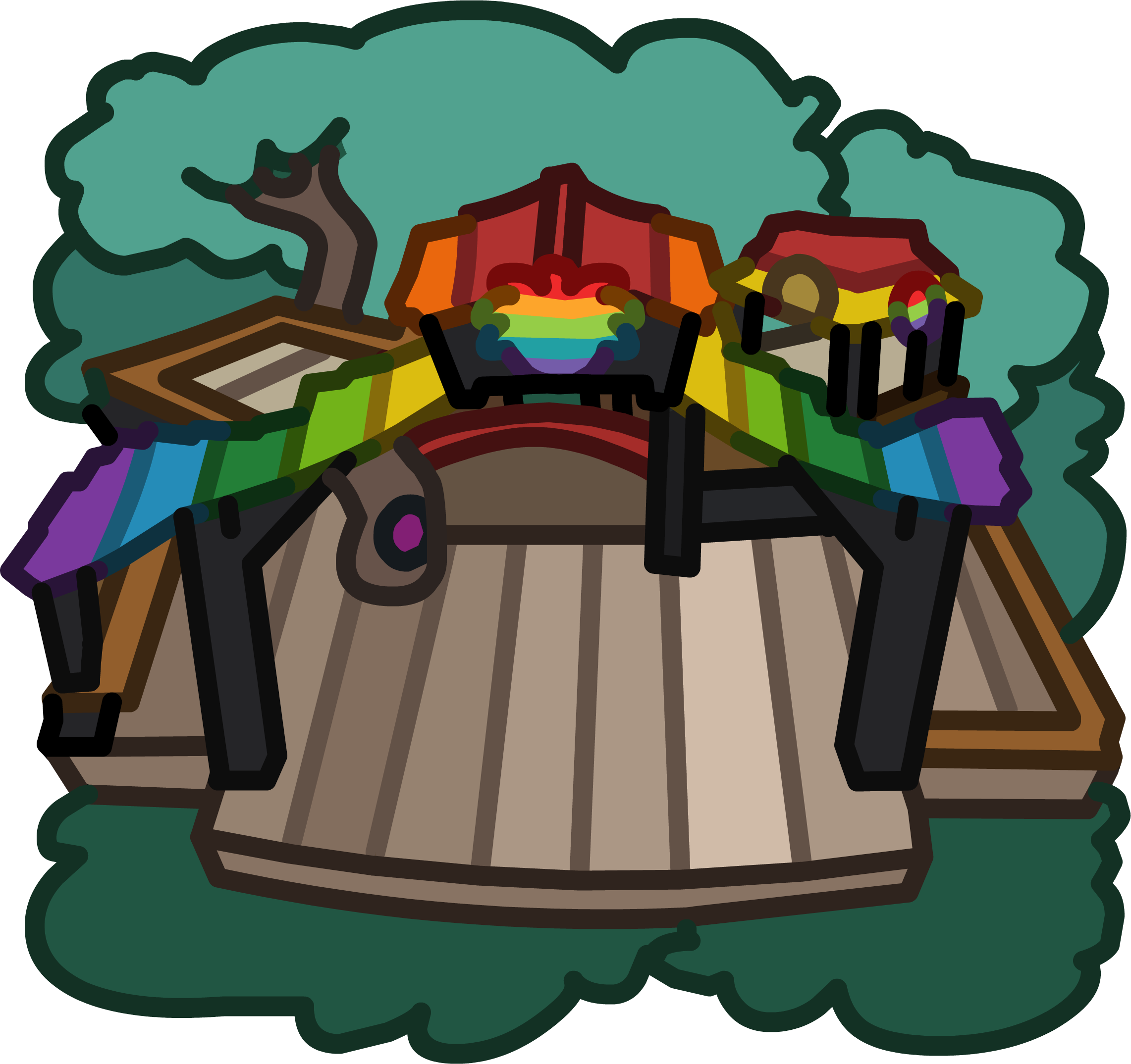 Rainbow puffle tree house. Cottage clipart cozy cottage