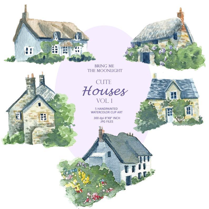 Watercolor little houses png. Cottage clipart cute cottage