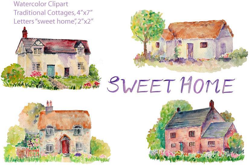 Clip art watercolor hand. Cottage clipart english cottage