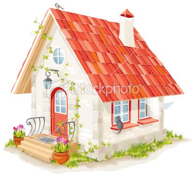 Cottage clipart fairytale cottage. Little fairy house with