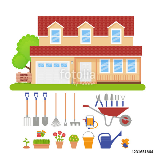 Cottage clipart front garden. House exterior tools vector