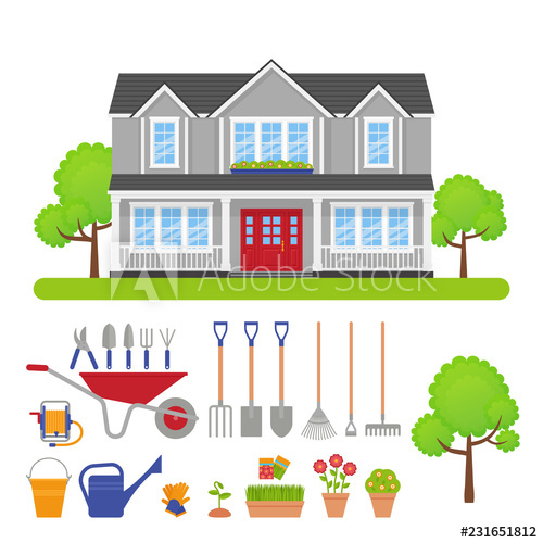 House exterior garden tools. Cottage clipart front lawn