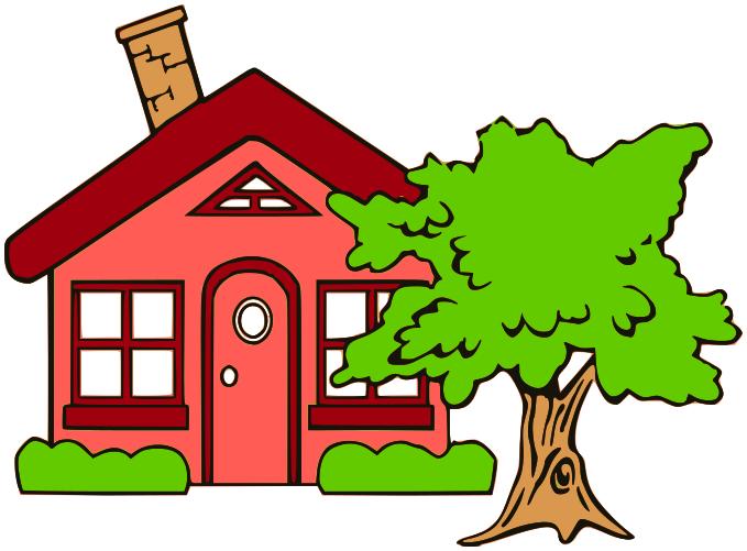Cottage clipart house family. Leaf cartoon tree transparent