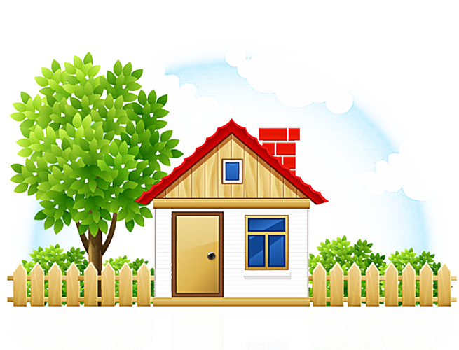 Cottage clipart many house. Cartoon drawing fence transprent