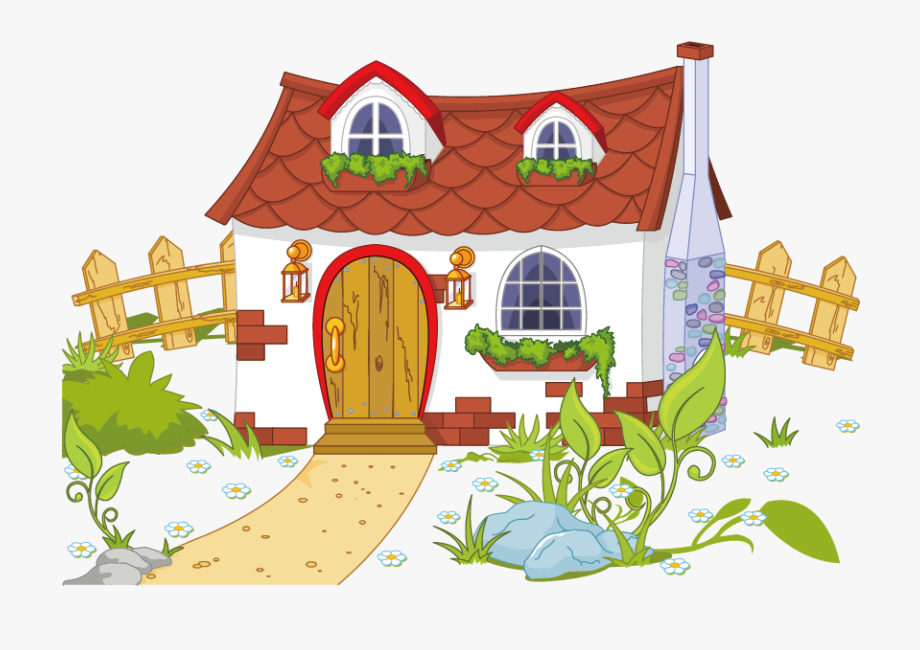 Content and fence free. Cottage clipart many house