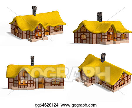 Cottage clipart medieval building. Stock illustration houses