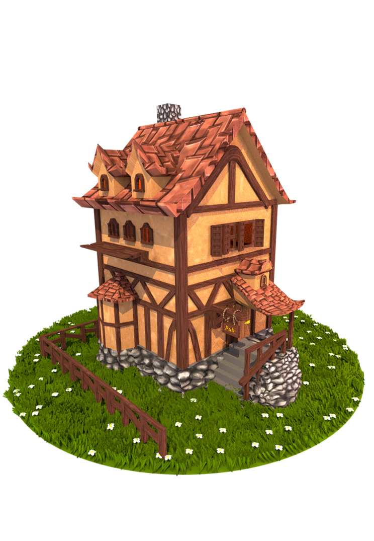 Building d model cartoon. Cottage clipart medieval house