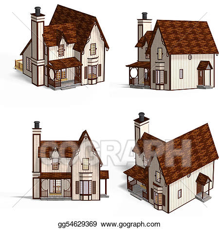 Stock illustrations houses . Cottage clipart medieval house