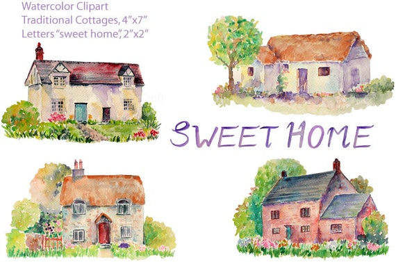 Clip art watercolor traditional. Cottage clipart old cottage