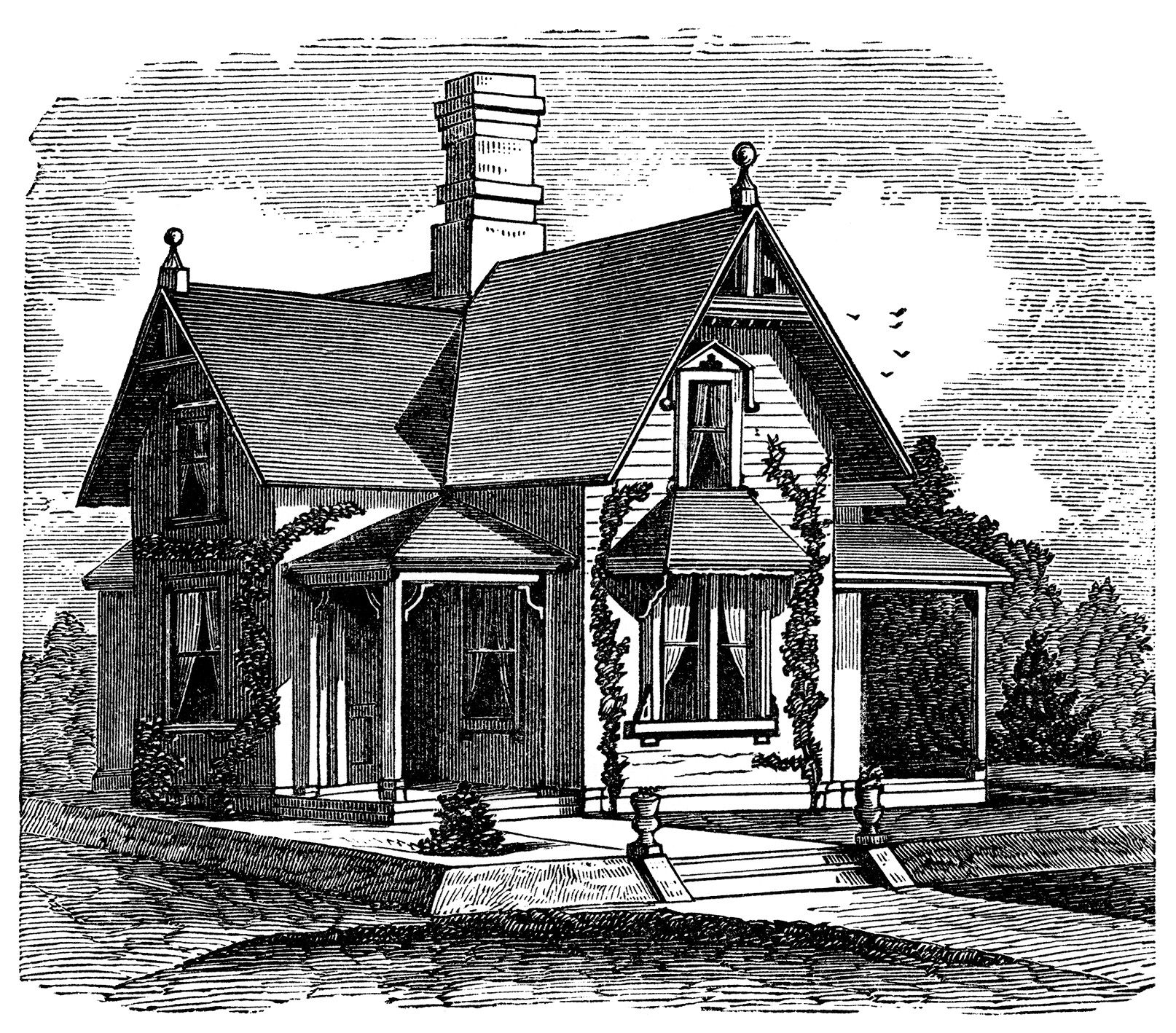 Cottage clipart old cottage. Black and white victorian