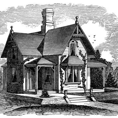 Cottage clipart old fashioned house. Antique illustration black and
