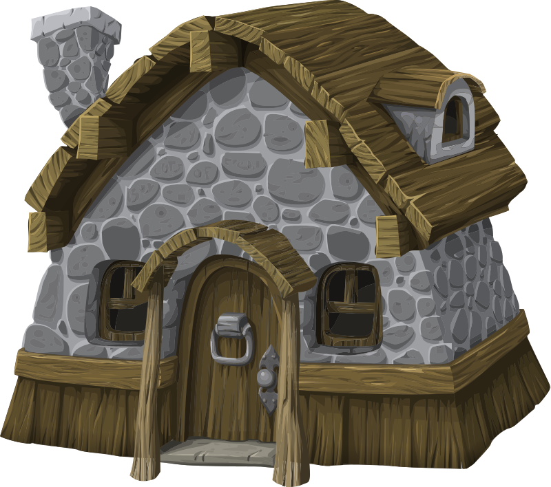 Rustic from glitch medium. Cottage clipart peasant house