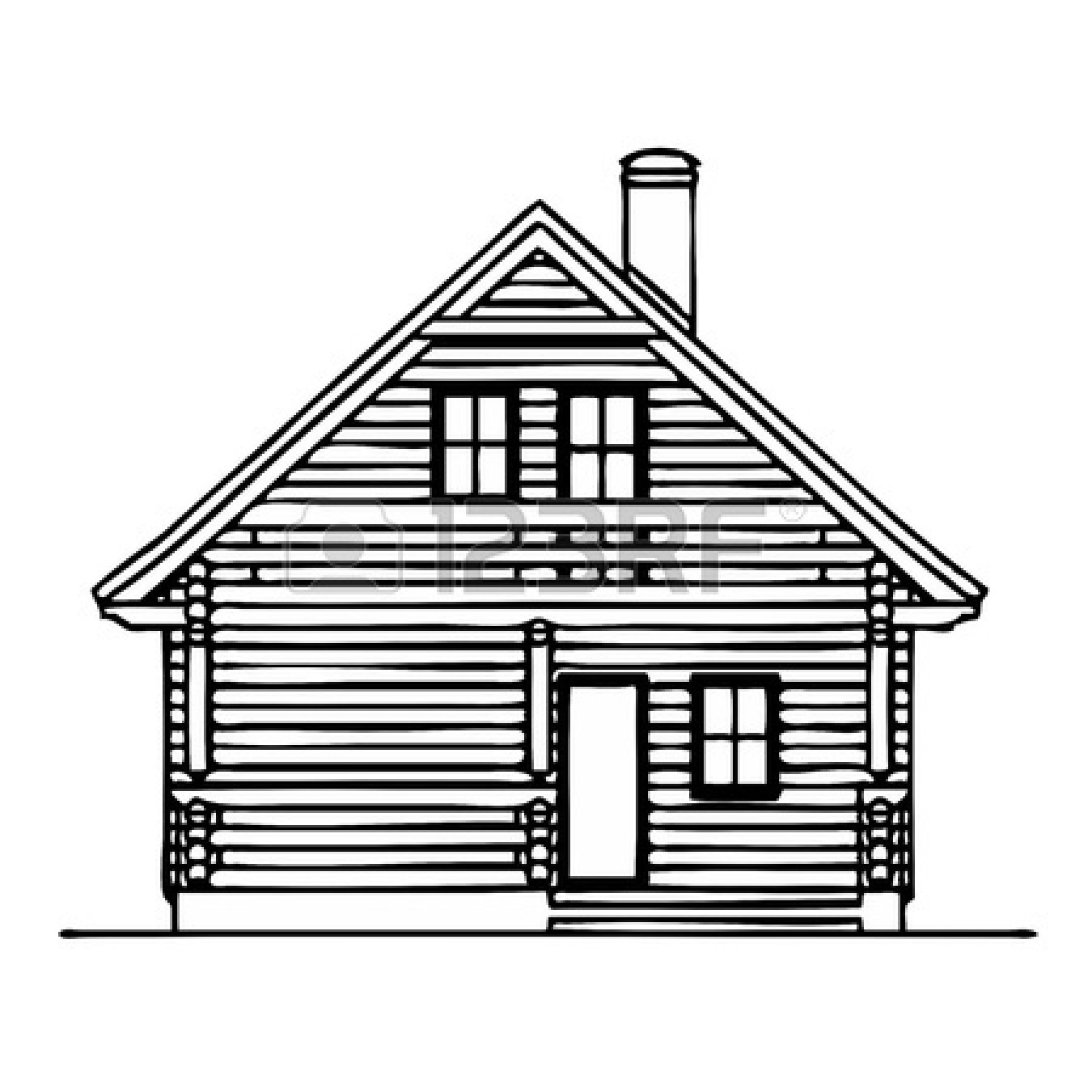 Shack drawing log cabin. Cottage clipart poor house