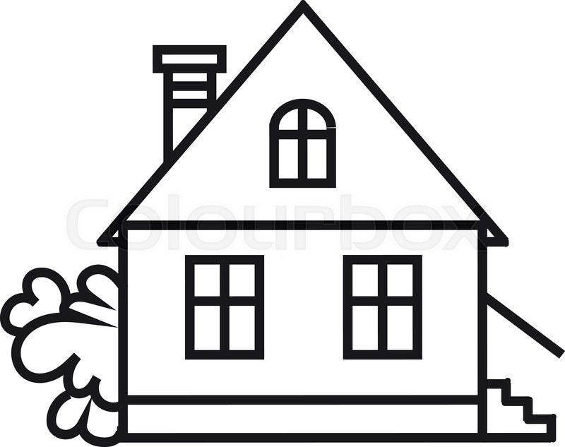Black and white free. Cottage clipart simple house