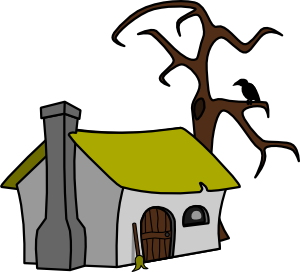 Witch clip art at. Cottage clipart small cottage
