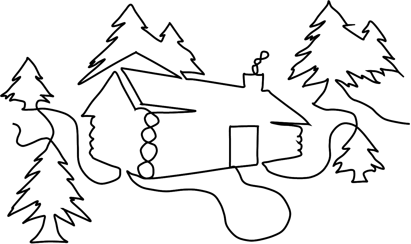 In the woods drawing. Cottage clipart snowy cabin