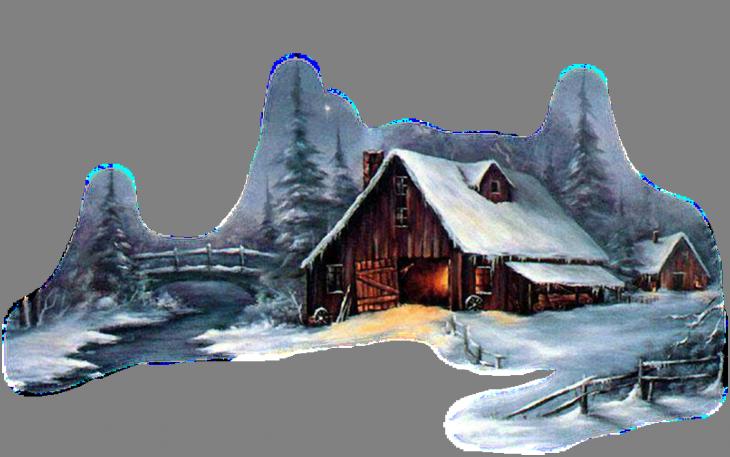 Tubes paysages winter en. Cottage clipart snowy cabin