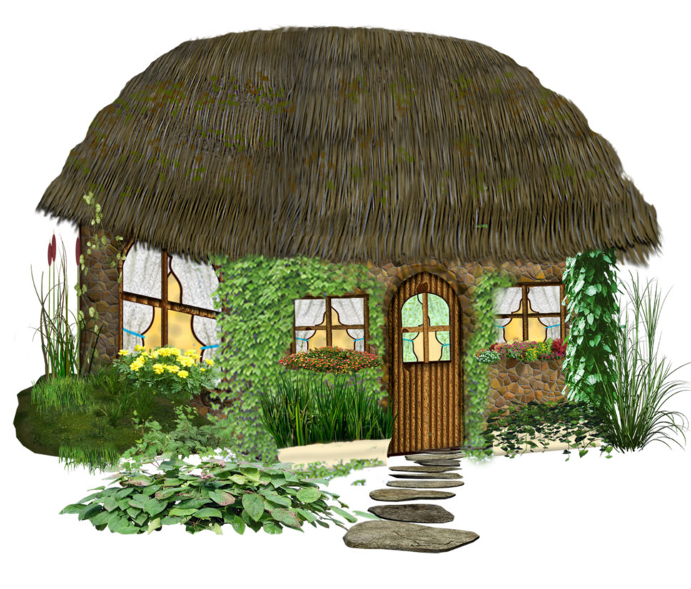 Cottage clipart thatch. Fairy fantasy home by