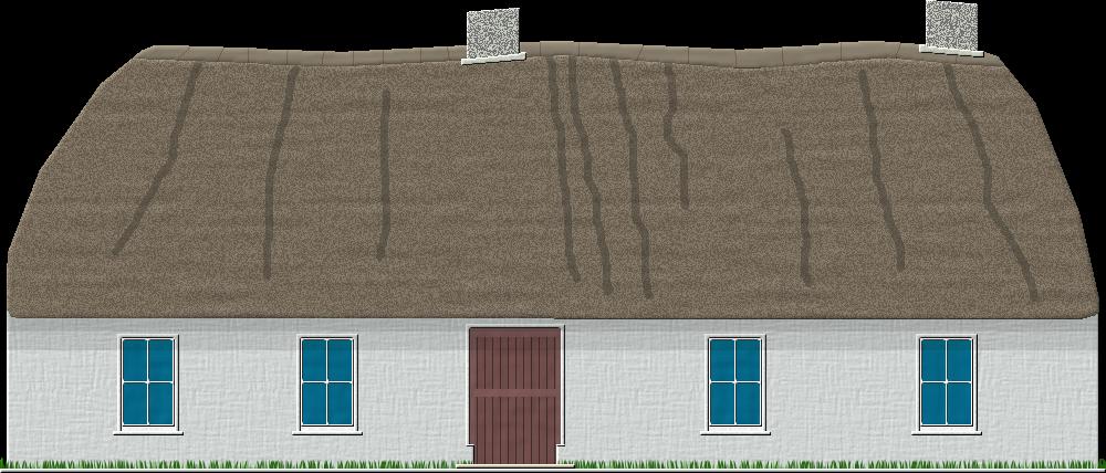 Lidske stavby a domy. Cottage clipart thatch
