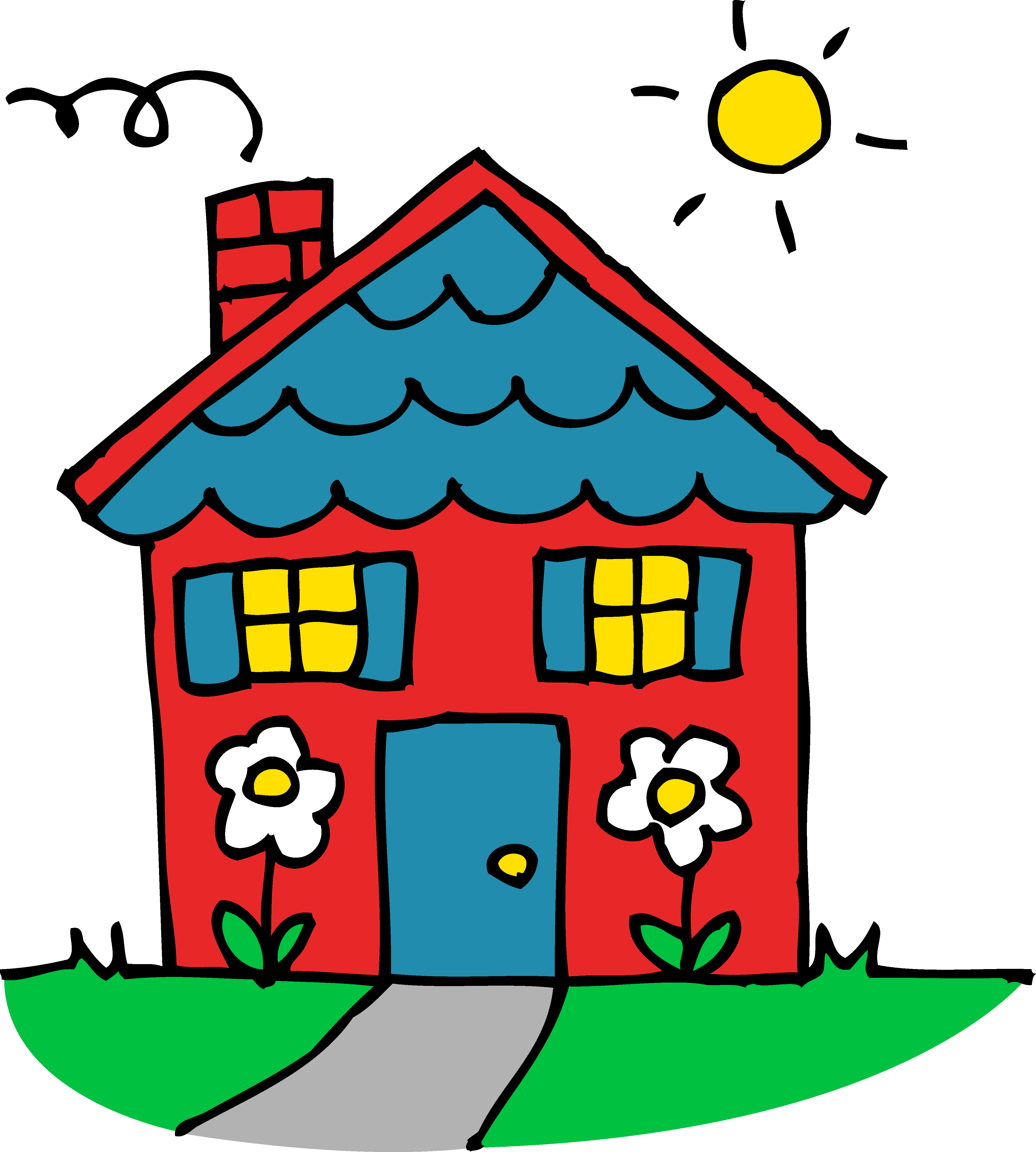 Drawing red house with. Cottage clipart thatched roof