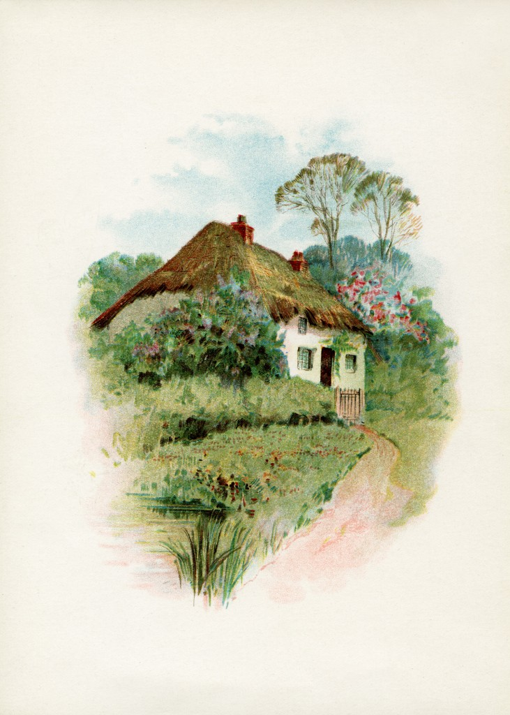 Cottage clipart thatched roof. In the country old