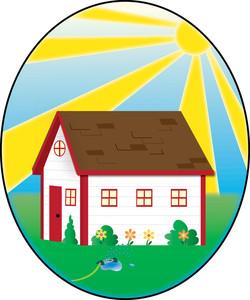 Cottage clipart yard. Clip art illustration of