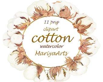 Cotton clipart. Etsy wreath boll clip