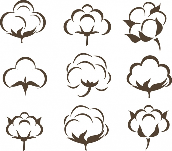Cotton clipart cotton flower. Flowers icons collection various