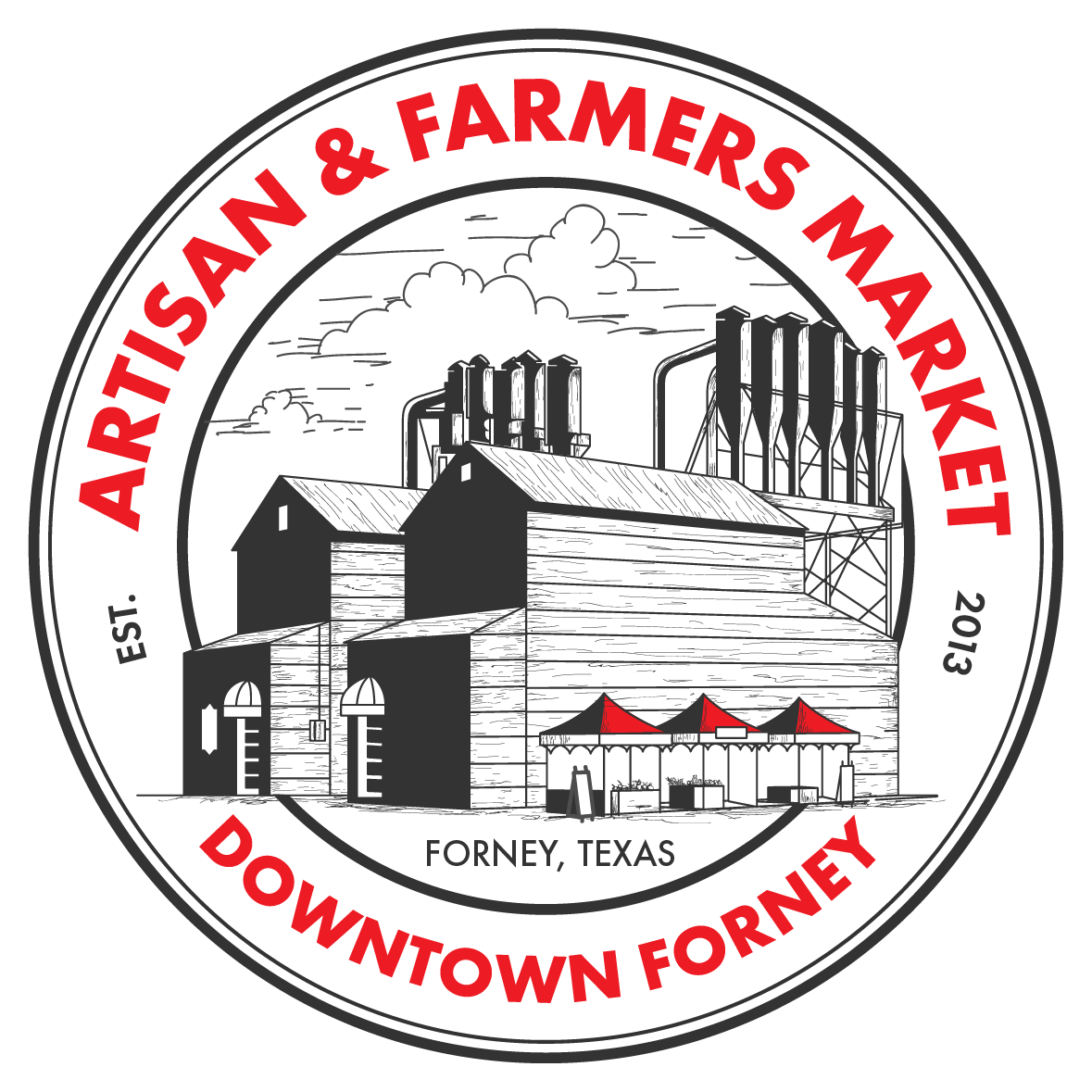Downtown forney artisan farmers. Market clipart old market