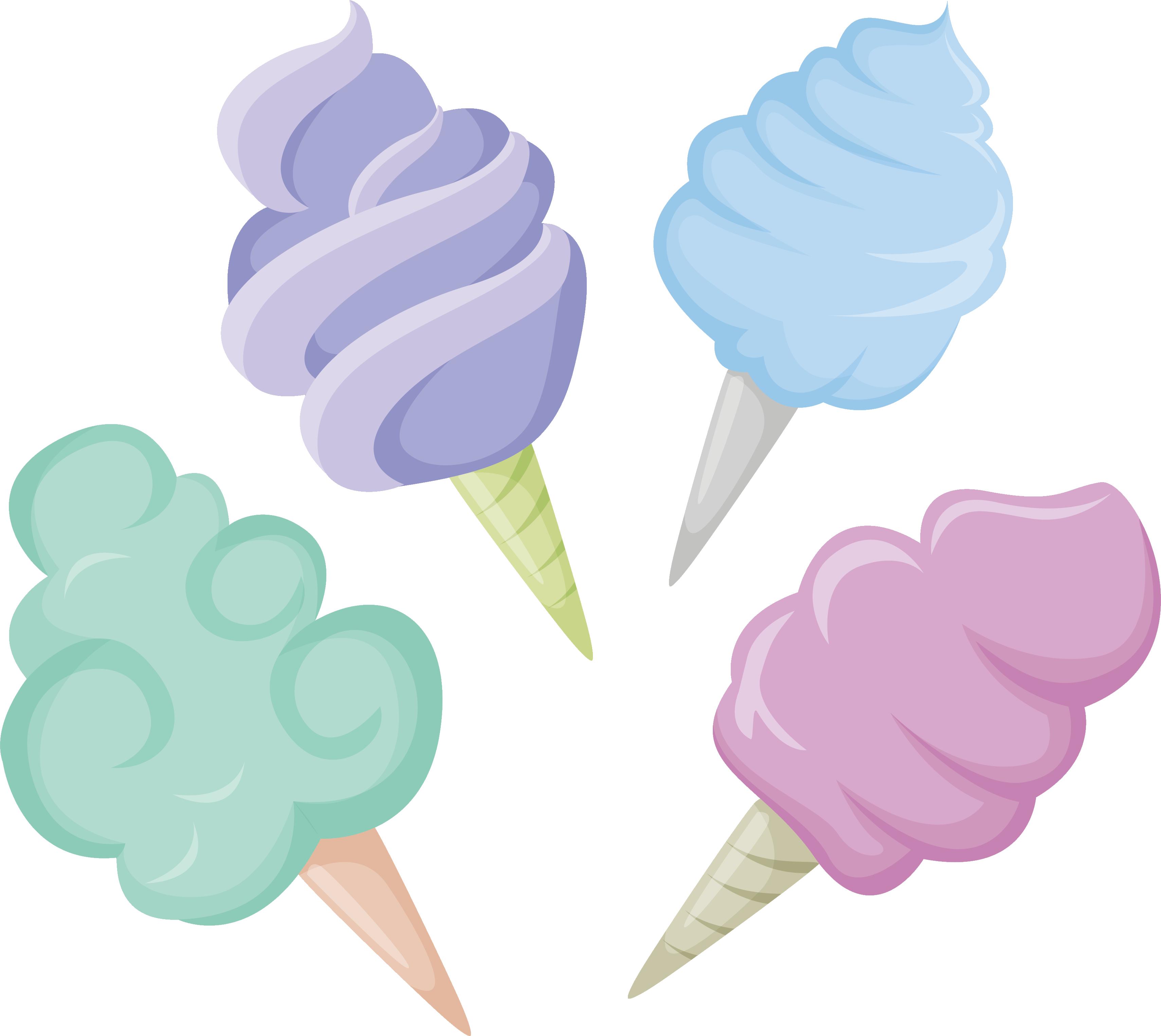 Desserts clipart colorful candy. Ice cream cotton sugar