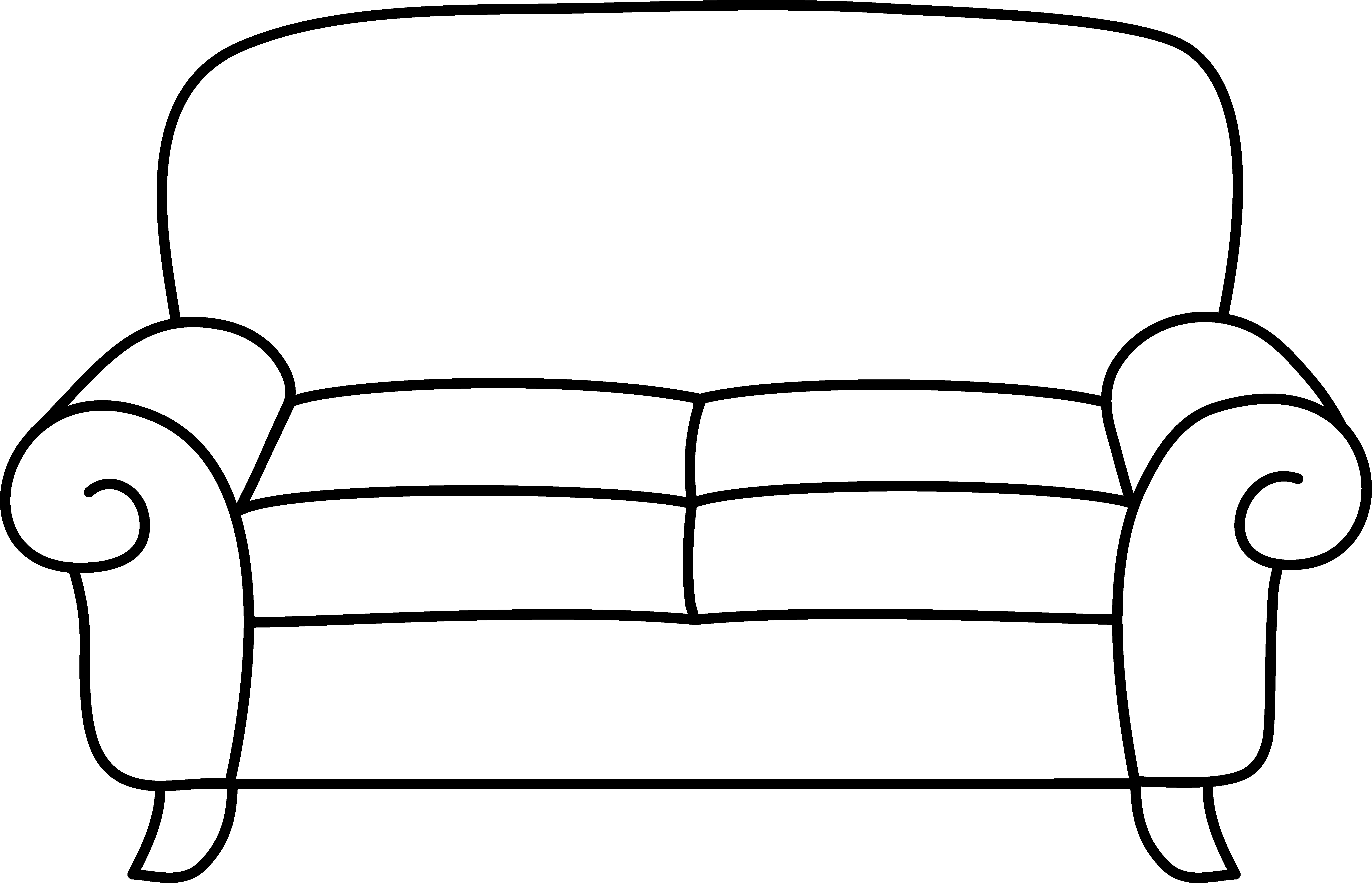 Black and white panda. Couch clipart