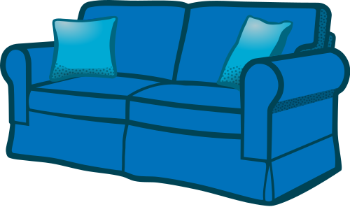 Couch clipart. Sofa blue household furniture