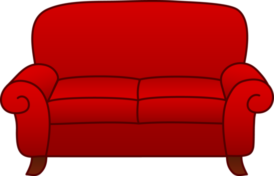 Couch clipart bedroom. Red sofa clip art