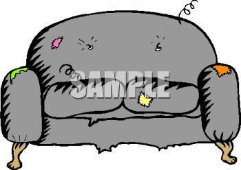 . Couch clipart broken